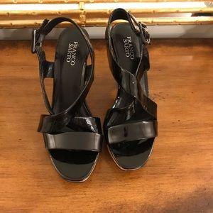 Franco Sarto heel Sandal Sz 9 black/ Cork